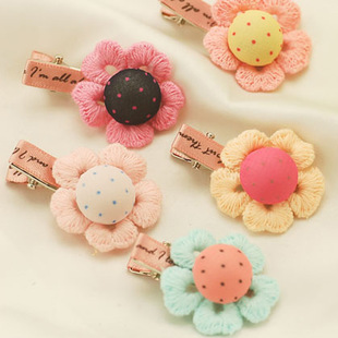 His wife Korean children's cartoon candy-colored lace flowers hairpin jewelry hair jewelry two yuan shop