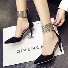 欧美潮201新款尖头高跟鞋细跟浅口罗马鞋后拉链时尚外贸凉鞋批发