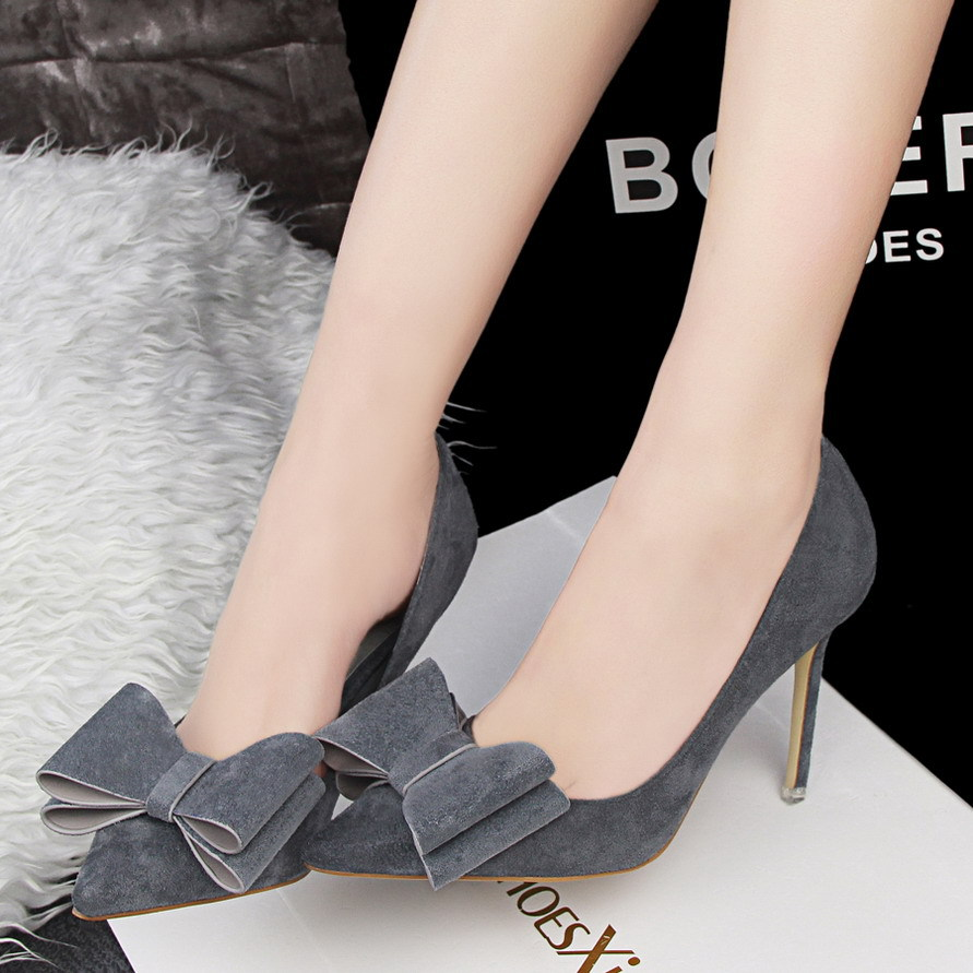 han edition sweet high-heeled shoes high heel with suede pedicure shallow thin mouth pointed bow women's shoes's main photo