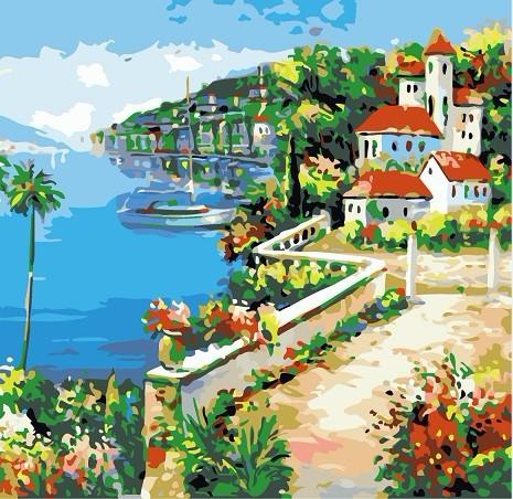 数字油画diy油画 手绘装饰画 彩绘数码数字画4040 爱情港湾