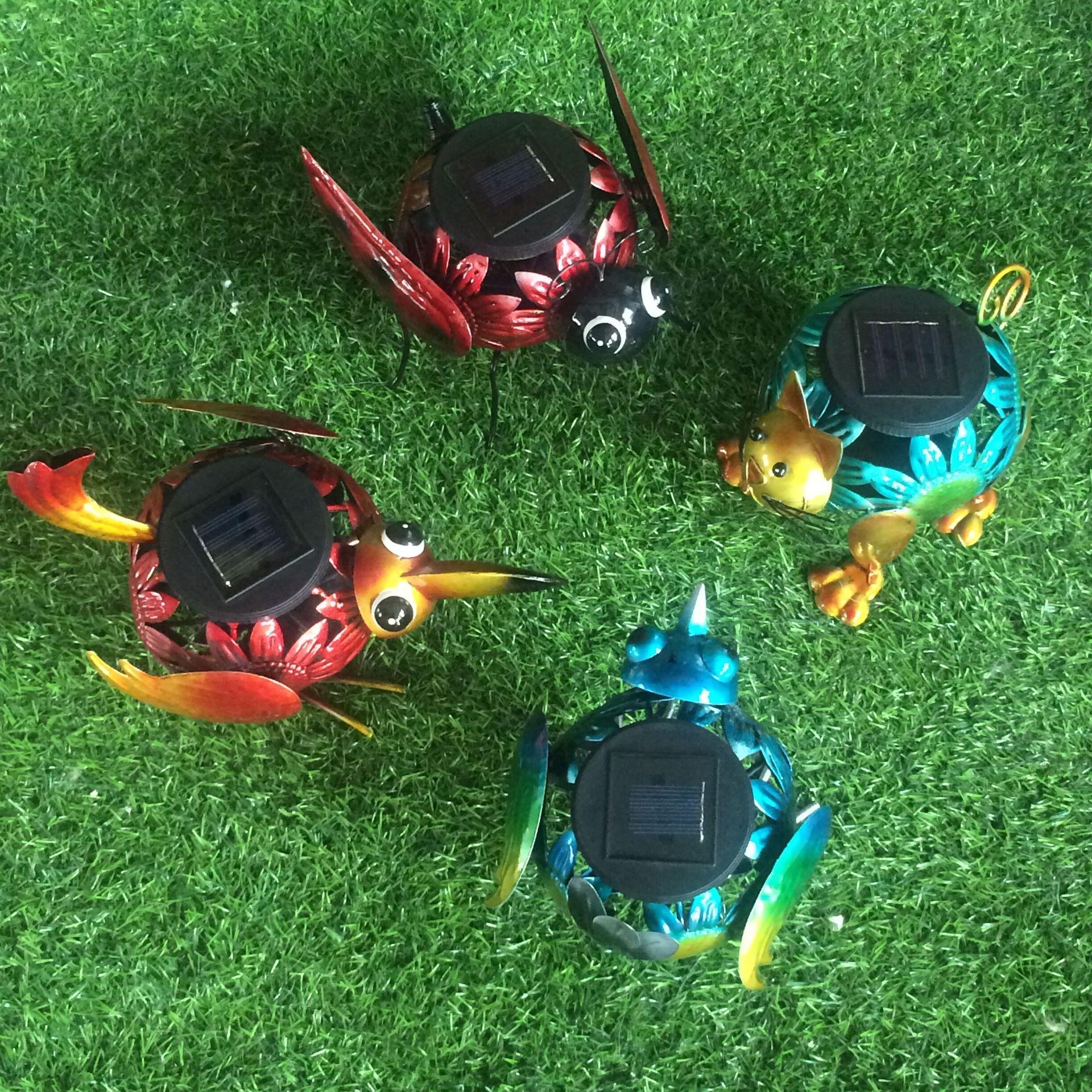厂家直销铁艺太阳能草坪灯各种创意造型铁艺动物铁艺造型灯