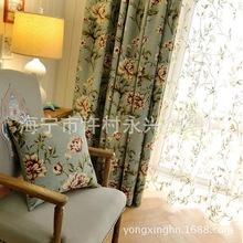美式田园大花碎花棉麻印花卧室 客厅窗帘布料 窗纱  复古蓝绿色