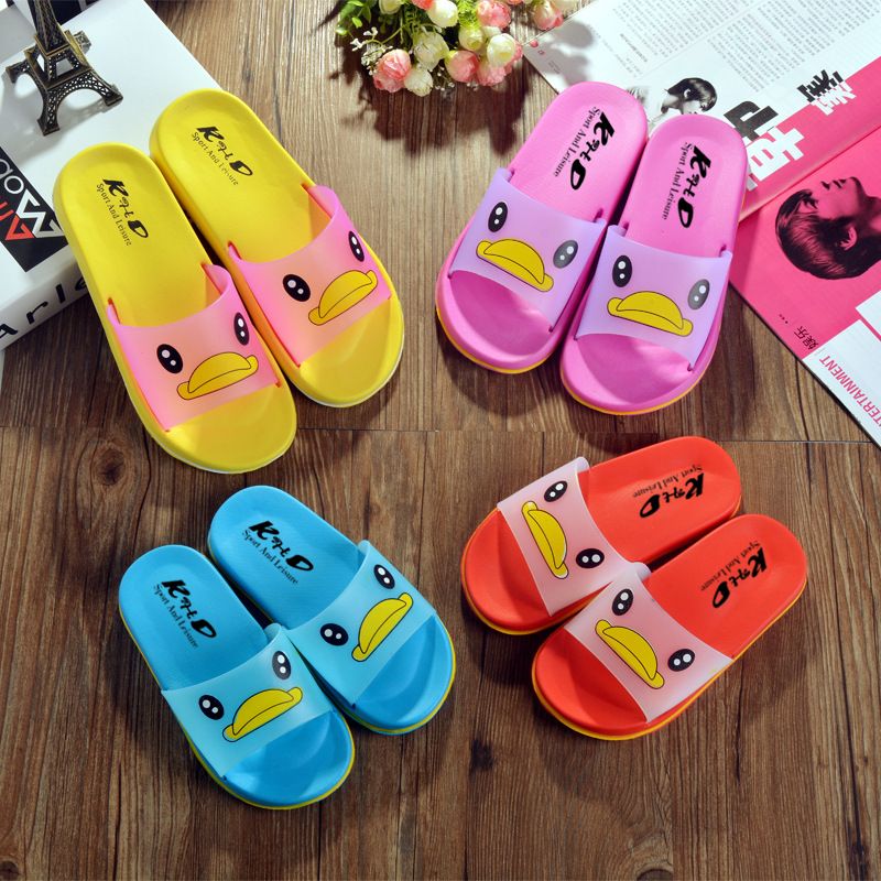 KHD slipper shakes phonic Xiaohuang duck to live in cartoon children to kiss child bathing shoe of f