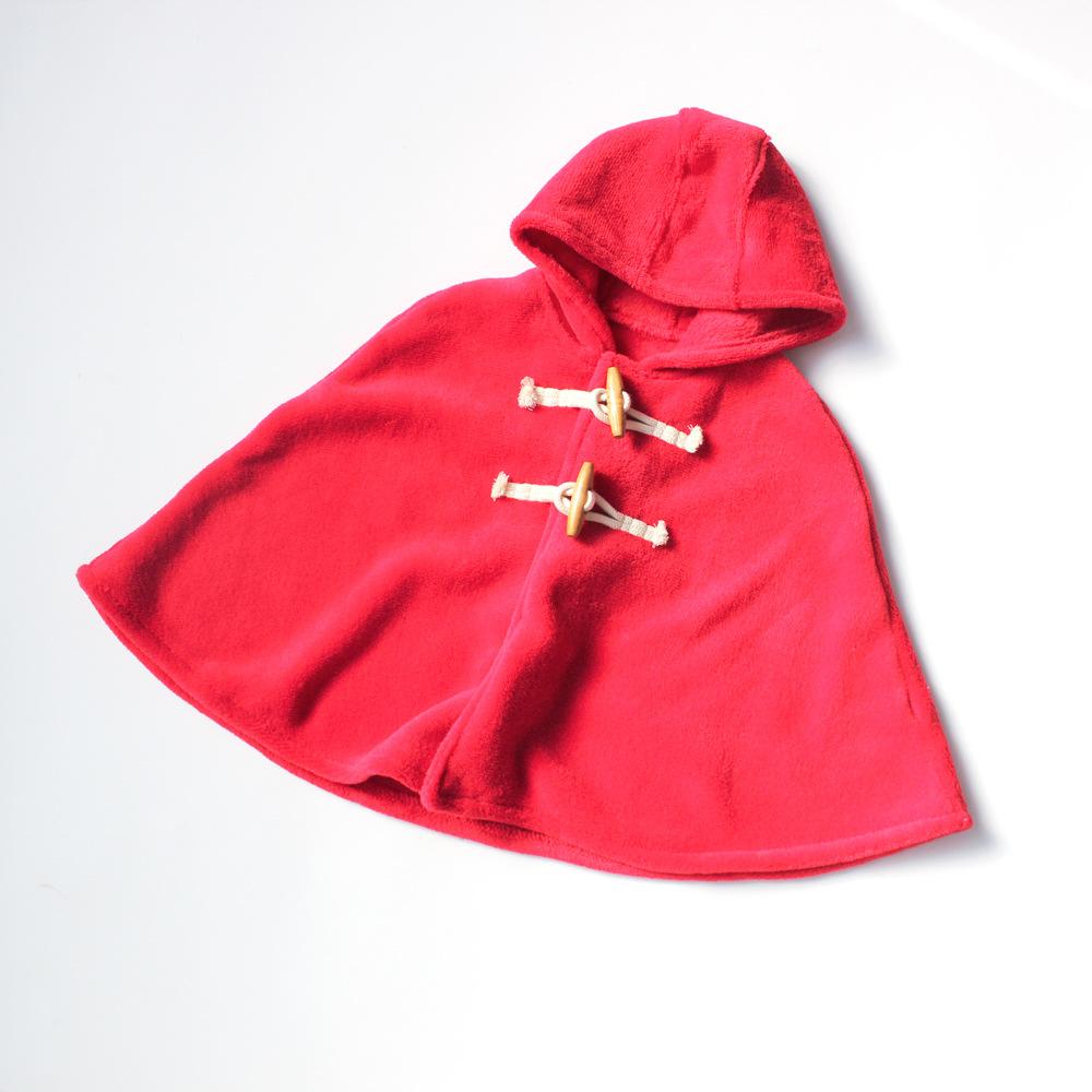外贸原单婴儿珊瑚绒斗篷儿童加厚保暖披风外出服秋冬外套宝宝披肩