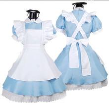 爱丽丝?#20301;?#20185;境*蓝色轻音lolita女仆装cosplay侍女装女佣装演出服