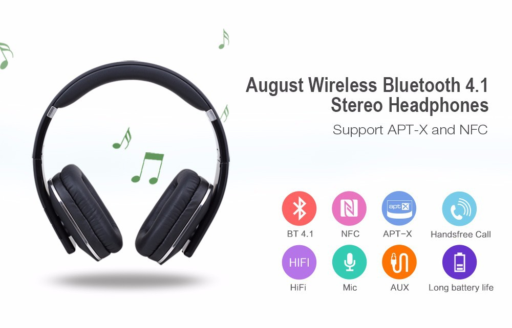 August EP650 Bluetooth Wireless Headphones Over Ear Stereo Headphone with Microphone/ Multipoint / apt-x/ 3.5mm Audio In Headset