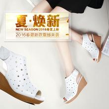 廠家直銷2019新款時尚羅馬坡跟魚嘴涼鞋女皮鞋防水臺高跟坡跟女鞋