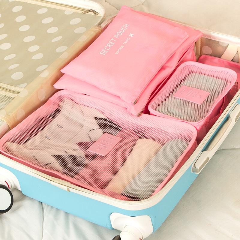 韩版旅行收纳包6件套 防水衣服整理包bags 旅行收纳袋 收纳六件套