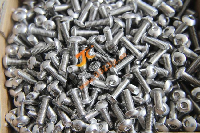 5mm粗细304不锈钢盘头内六角螺丝 半圆头内六角螺栓 ISO7380 M5