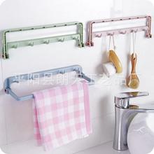 多功能可折疊廚房抹布掛架免打孔可粘式櫥柜門背式掛架抹布掛鉤