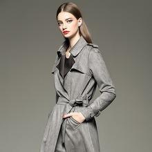 欧洲站秋冬新款女士时尚中长款修身显瘦麂皮绒鹿皮绒气质大牌风衣