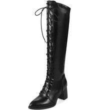 高筒騎士靴女 高跟前系帶特大碼女靴40-48碼秋冬天鞋子新款Z6-1