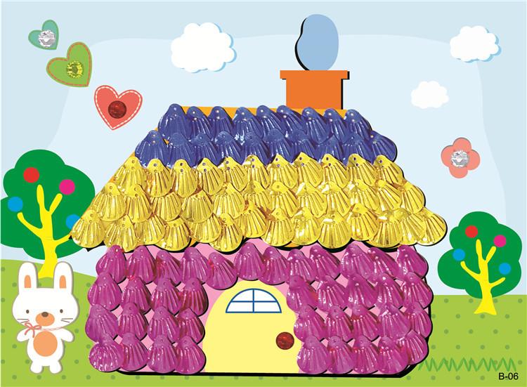 手工制作材料包 美劳diy贝壳画 贝壳粘贴画 儿童益智贴画配胶水