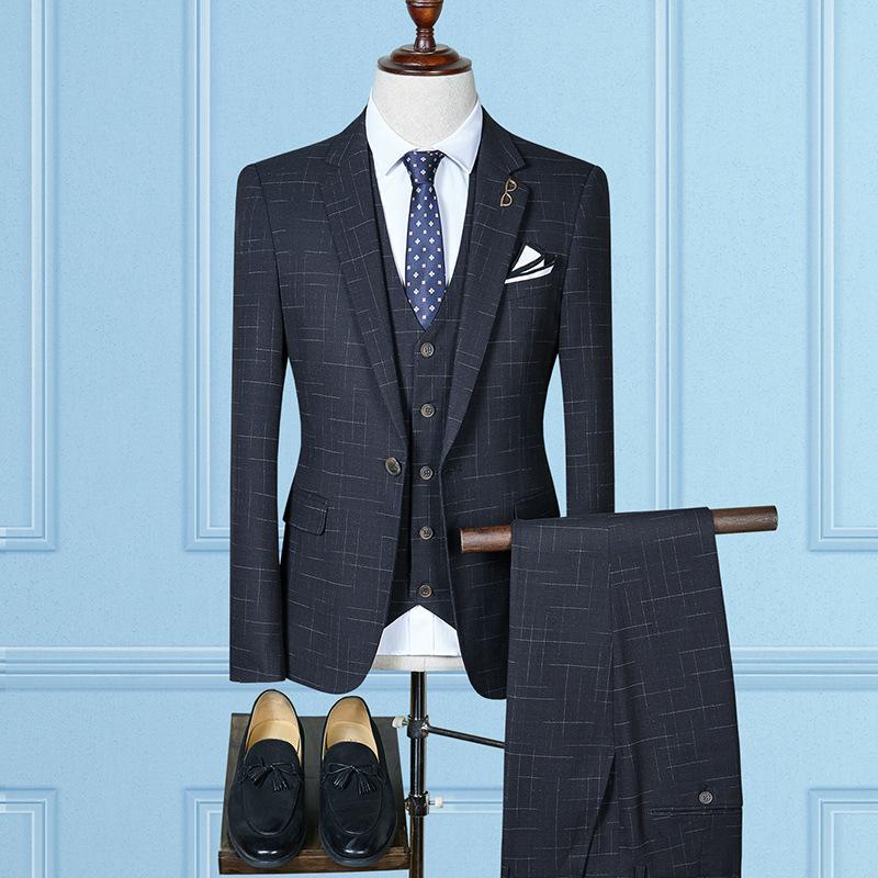套装西服男士格纹大码西服三件套韩版男士半伴郎礼服套装男西服