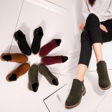 2017秋冬新款韩版加绒马丁靴女侧拉链短靴女低跟低筒学生学院风女