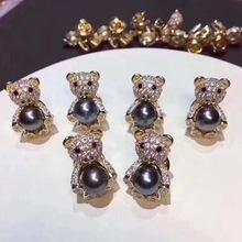 萌萌哒小熊胸针 淡水珍珠胸花 大溪地珍珠别针 一件代发