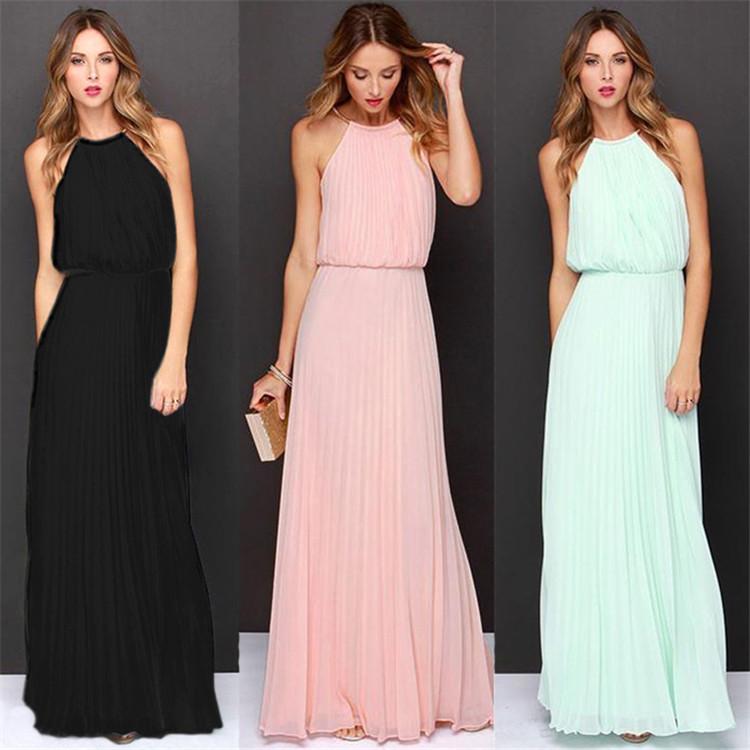 速賣通歐美新款ebay外貿爆款無袖韁繩百褶時尚性感禮服長裙