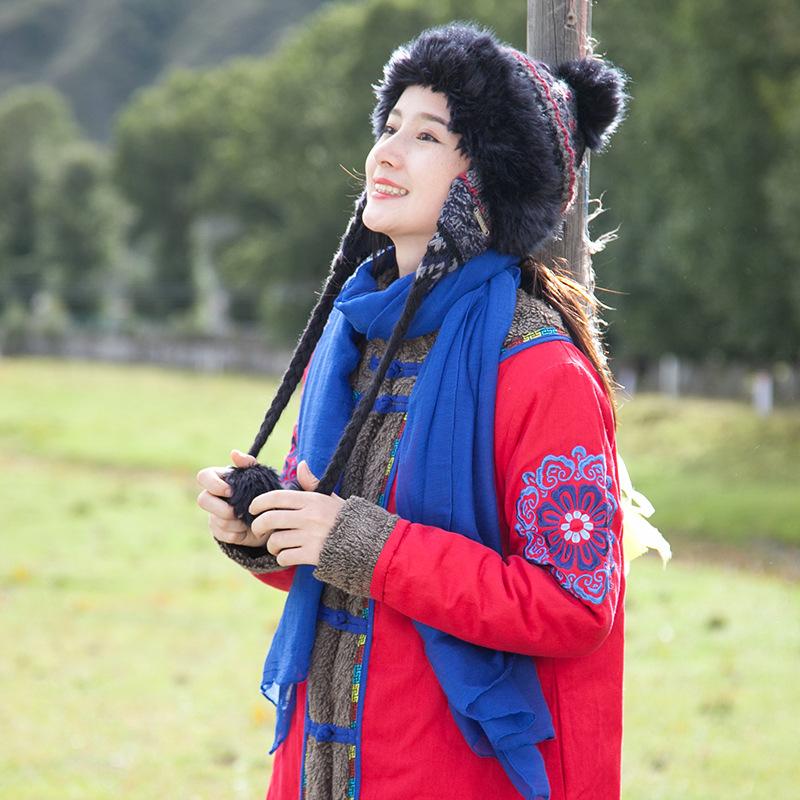 2019创意款冬季棉麻女装民族风棉衣仿羊羔绒刺绣棉服外套