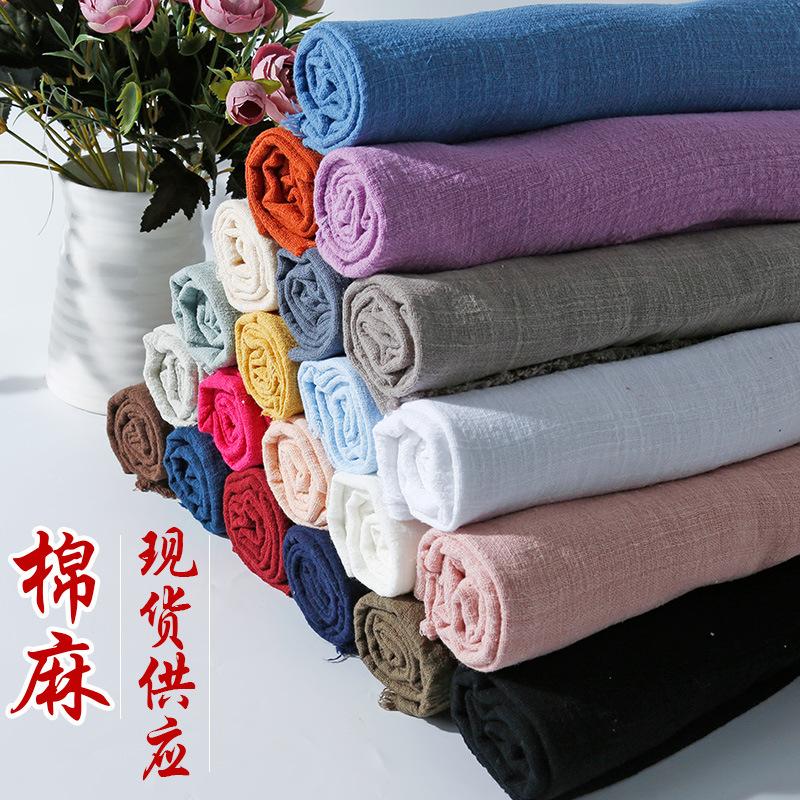 竹节皱麻 棉麻服装面料 夏季彩色薄款亚麻布 素色亚麻布料批发
