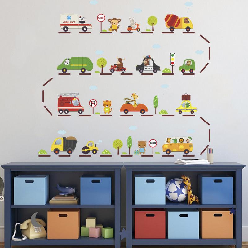 卡通汽车儿童房电视背景幼儿园装饰墙贴纸环保可移除贴画儿童玩具