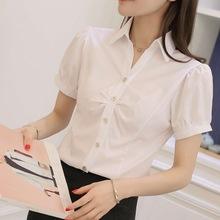 韩版雪纺白衬衫女夏短袖职业装天蓝色正装V领大码半袖衬衣女装ol