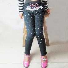 2018冬童装纯棉女童打底裤加绒加厚波点中大儿童长裤外穿一件代发