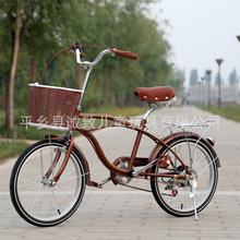 20寸女士自行车变速车淑女学生沙滩车成人车单速?#20449;?#36890;勒工厂直销