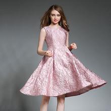 实拍现货2017欧美风新款无袖提花重工提花高腰蓬蓬裙修身连衣裙潮
