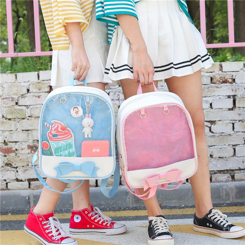 2019新款韩版双肩包女中学生书包时尚手机零钱包透明包一件代发