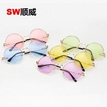 厂家直销日韩可爱彩色镜片复古圆形太阳镜个性海洋片太阳眼镜批发