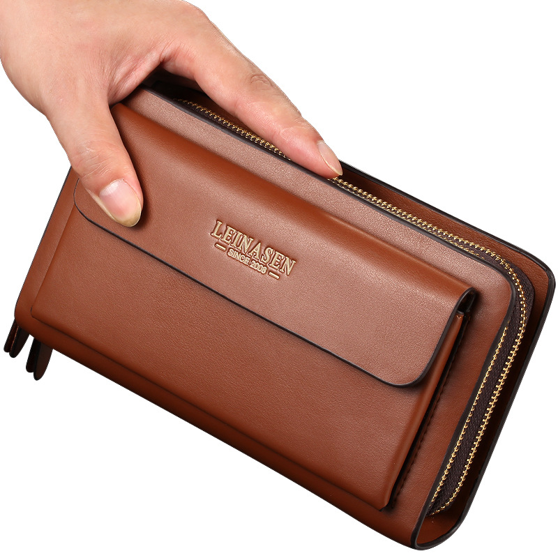 LEINSEN商务包男士手机PU皮手包男包拉链手拿包钱包微商一件代发