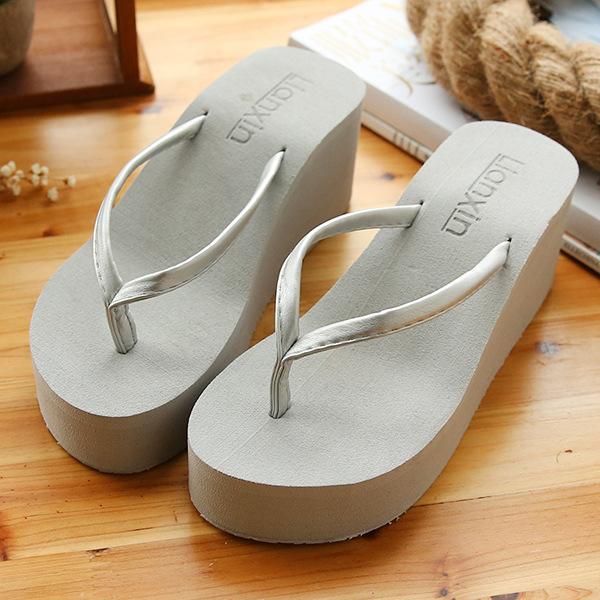6.7厘米高跟细带软皮质人字拖TPR防滑大底PU细带女士沙滩鞋韩版潮