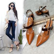 韩版包头凉鞋女夏中跟2018新款尖头鞋时尚百搭漆皮粗跟后空单鞋女