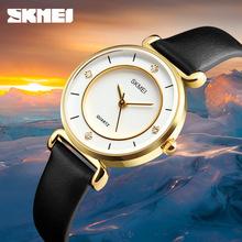 Skmei简约时尚镶钻女士手表创意女表情侣学生表带石英表
