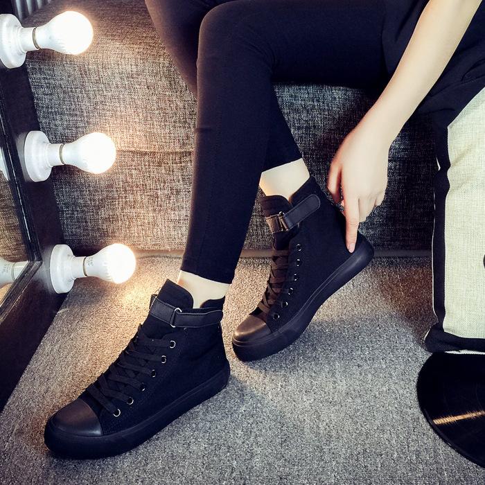 飞耀帆布鞋女高帮韩版黑色平底魔术贴休闲鞋学生情侣板鞋L59N93