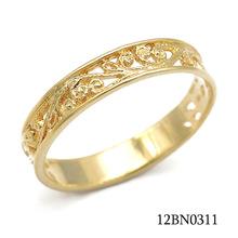 掐丝镂空花纹环形扁18K包金首饰 法国古典掐丝图案镀金男装戒指