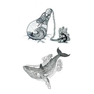 夏季新款原宿风纹身贴防水小清新鲸鱼纹身贴纸环保时尚卡通纹身贴