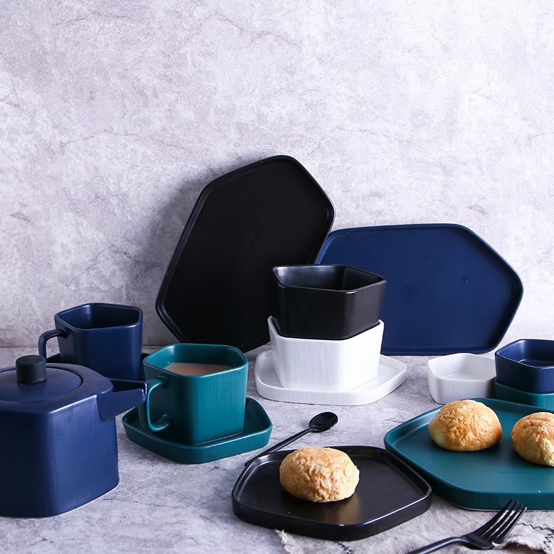 下午茶系列 哑光磨砂4色陶瓷餐具西餐牛排盘 饭碗汤碗茶壶杯碟