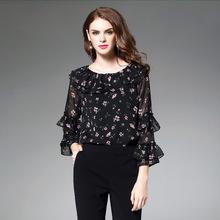 2017秋装新款欧美长袖碎花雪纺衫女衬衫宽松荷叶边打底衫一件代发