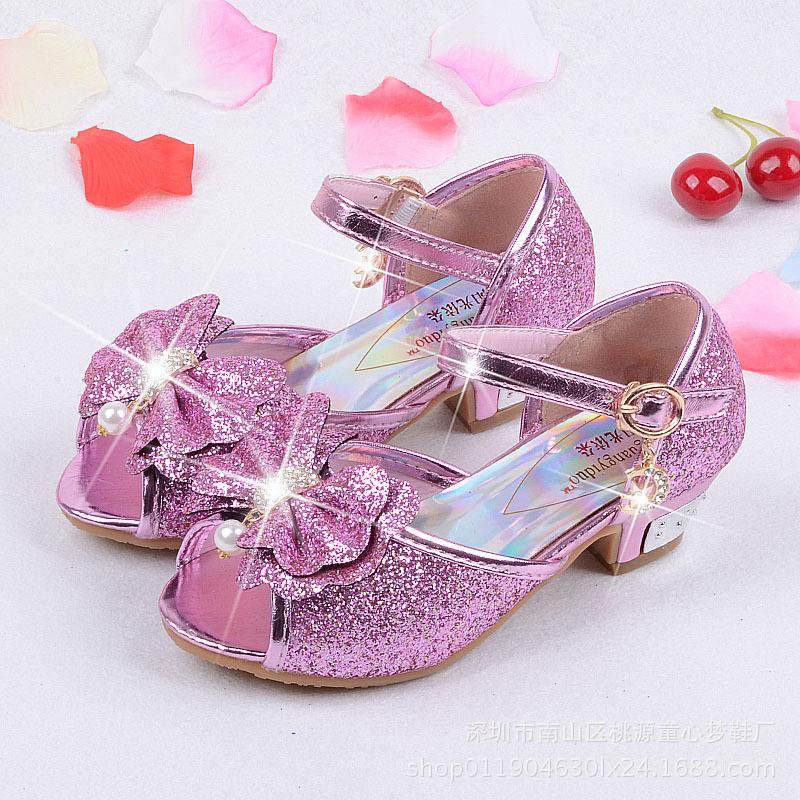 冰雪奇緣艾莎公主鞋時尚百搭亮片小孩高跟鞋45678910歲女童涼鞋潮