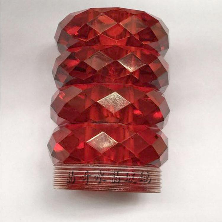 水晶玻璃窗帘杆装饰头厂家定做红水晶装饰头带螺口窗帘杆水晶头