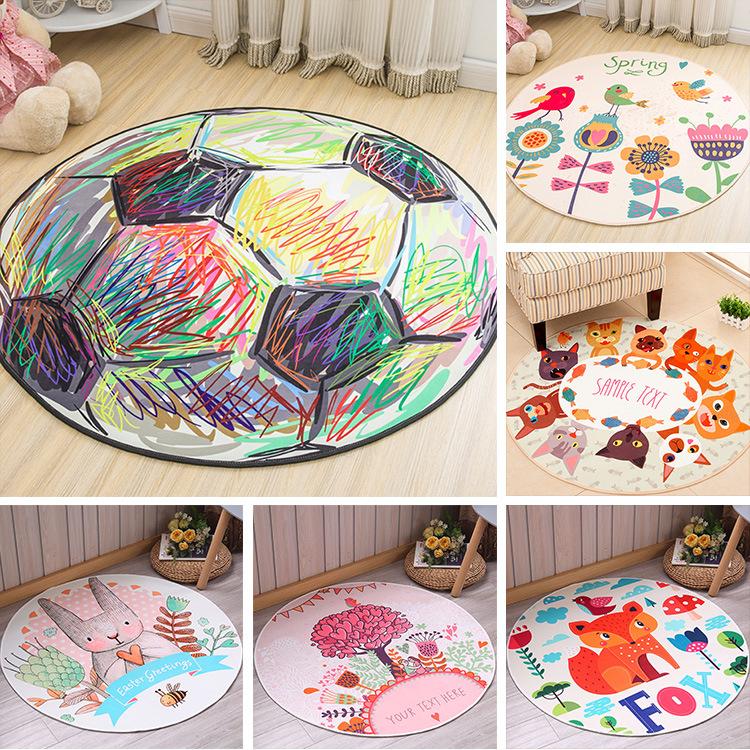 現代簡約圓形地毯滿鋪臥室客廳茶幾腳墊兒童卡通地墊床邊毯可定制