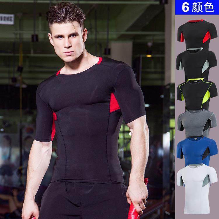 男士运动PRO 健身跑步紧身速干短袖衫弹力压缩T恤塑身衣服1043