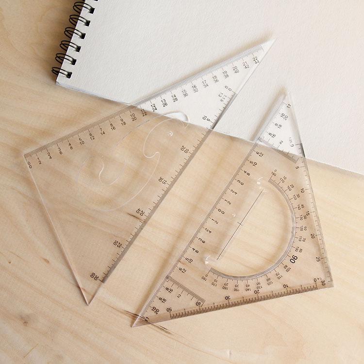 三角尺文具尺30cm尺大号学生文具套装25厘米绘图设计三角板套装