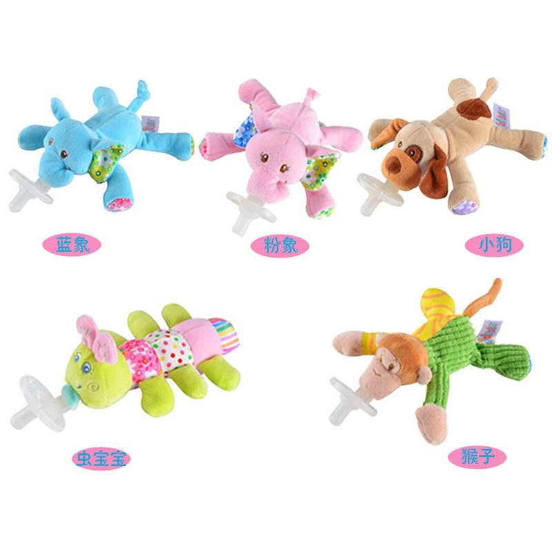 21cm 卡通动物造型安抚奶嘴玩偶 婴儿毛绒玩具 吞咽能力训练玩具