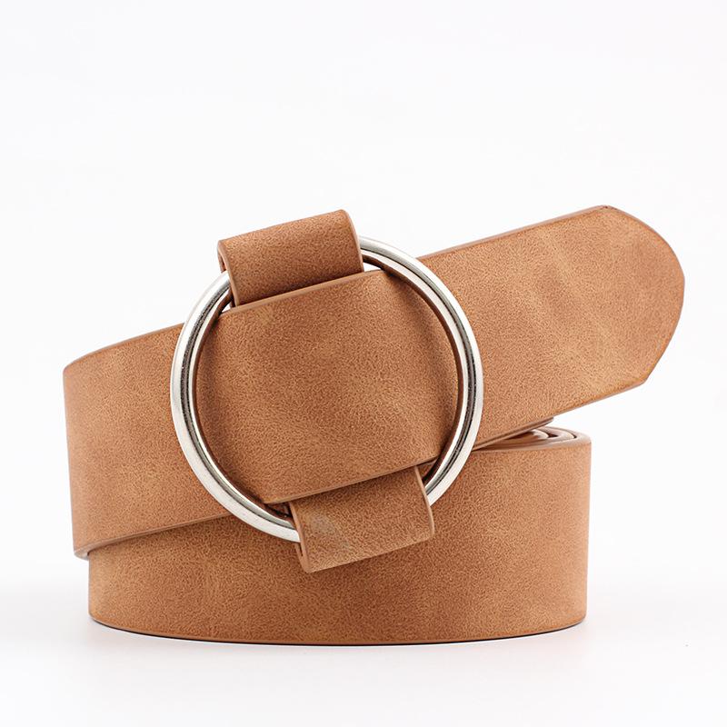 厂家直销创意款 无针圆扣休闲女士皮带 青年时尚宽皮带批发腰带女