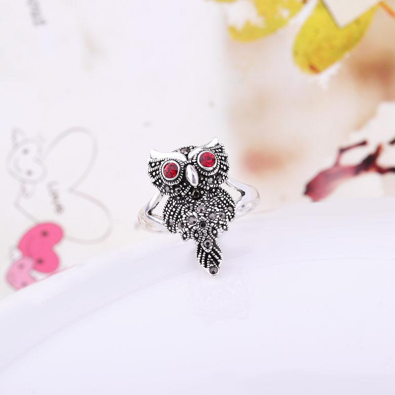 外贸个性动物首饰批发 创意猫头鹰镶钻复古戒指女士 欧美热销饰品