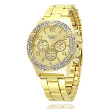 日内瓦钢带假3眼手表大盘镶钻手表商务男士手表时尚女表