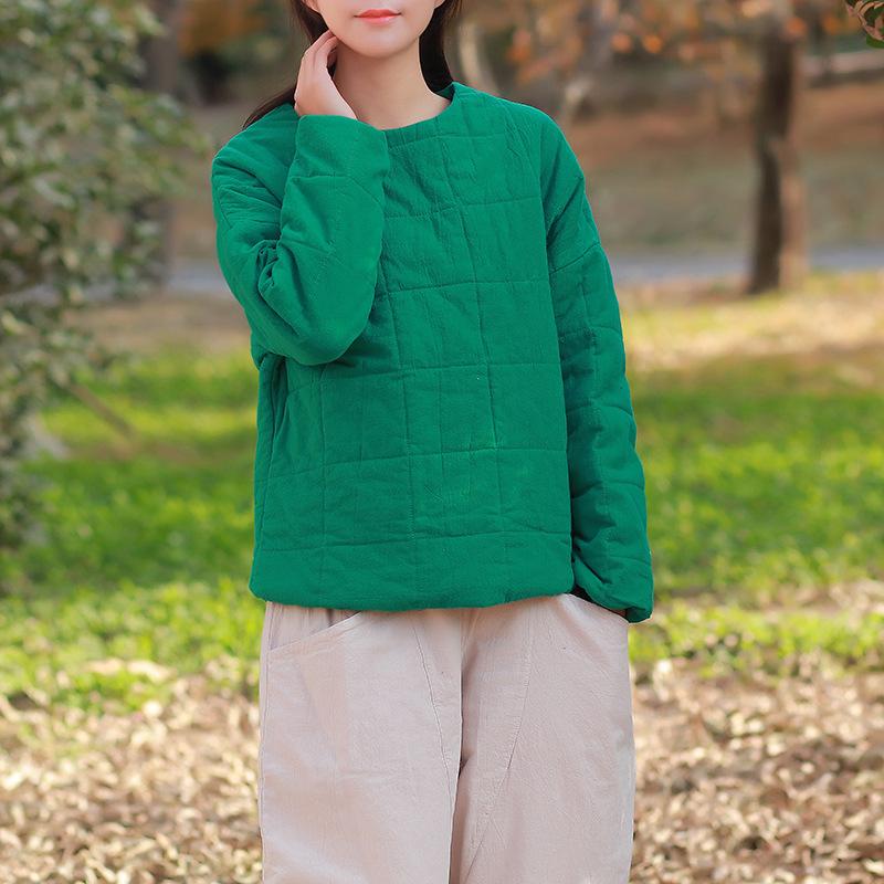 2018冬季新款棉麻女装复古文艺棉麻保暖加厚短款套头女式棉衣