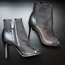 欧美女士网眼凉鞋黑色透气鱼嘴凉靴外贸渔网高跟鞋成都厂家定制